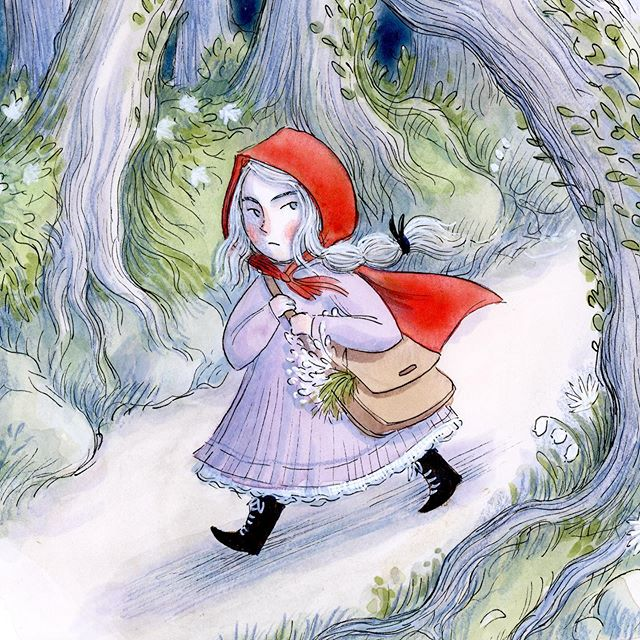 Happy Friday! ❤️ . . . . #art #illustration #painting #watercolor #micronpen #illust #kidlitart #kidlit #artistsoninstagram #womenwhoillustrate #illustratorsoninstagram #redridinghood #fairytale #folktale #forest #fantasyart #friday #happyfriday