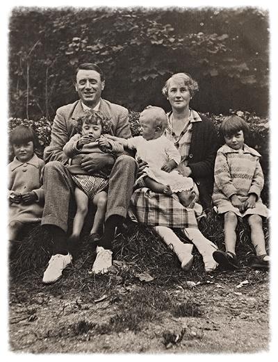 Tom & Lucy with their children.    L-R(children);Eileen, Lila, Myles and Sheila.