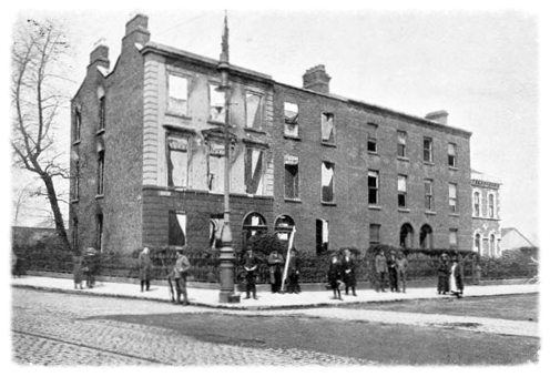 The ruined shell of the now demolished Clanwilliam House, after Easter week 1916.
