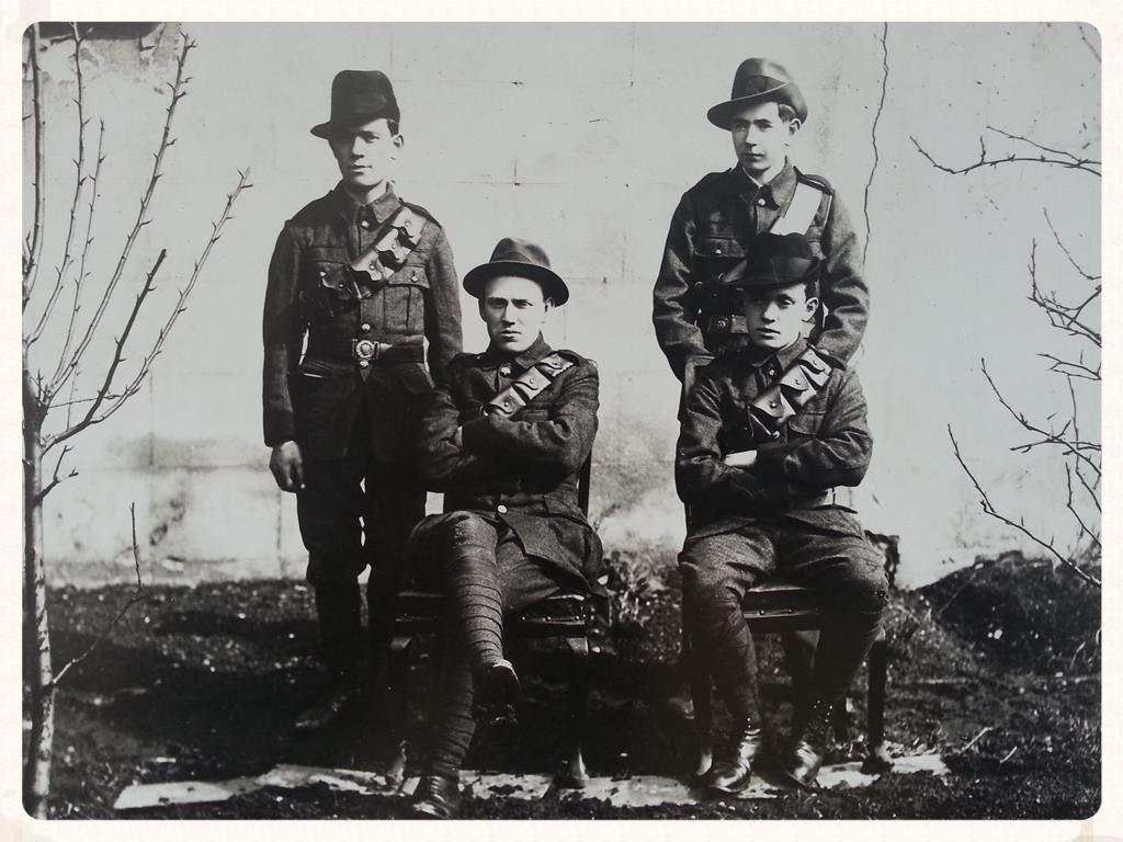 The four survivors of Clanwilliam House.  L-R; JimWalsh & James Doyle(standing), Willie Ronan& TomWalsh (seated).