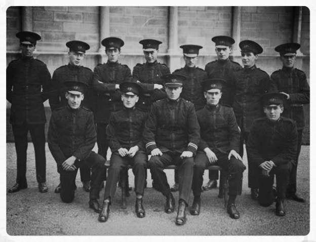 """'The Guards of Leinster House' - Tom Byrne and his men at Leinster House circa 1922. Tom worked as Captain of the Guard from 1922 until his retirement in 1947. He was highly respected in the Dáil and was described as """"the very soul of the Oireachtas""""."""
