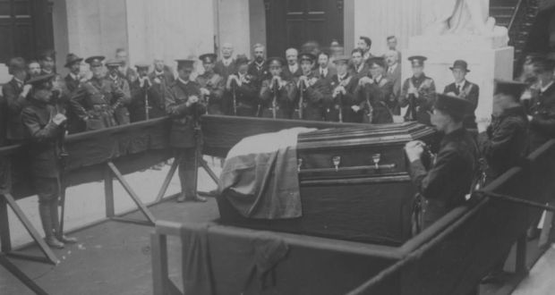 The coffin of Jeremiah O'Donovan Rossa, draped in the Irish Tricolour, lying in state,1915.