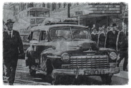 Paddy Rankin's funeral courtege makes its way down O'Connell St, Dublinin 1964, passing by the GPO where he served with distinction during the Easter Rising in1916.