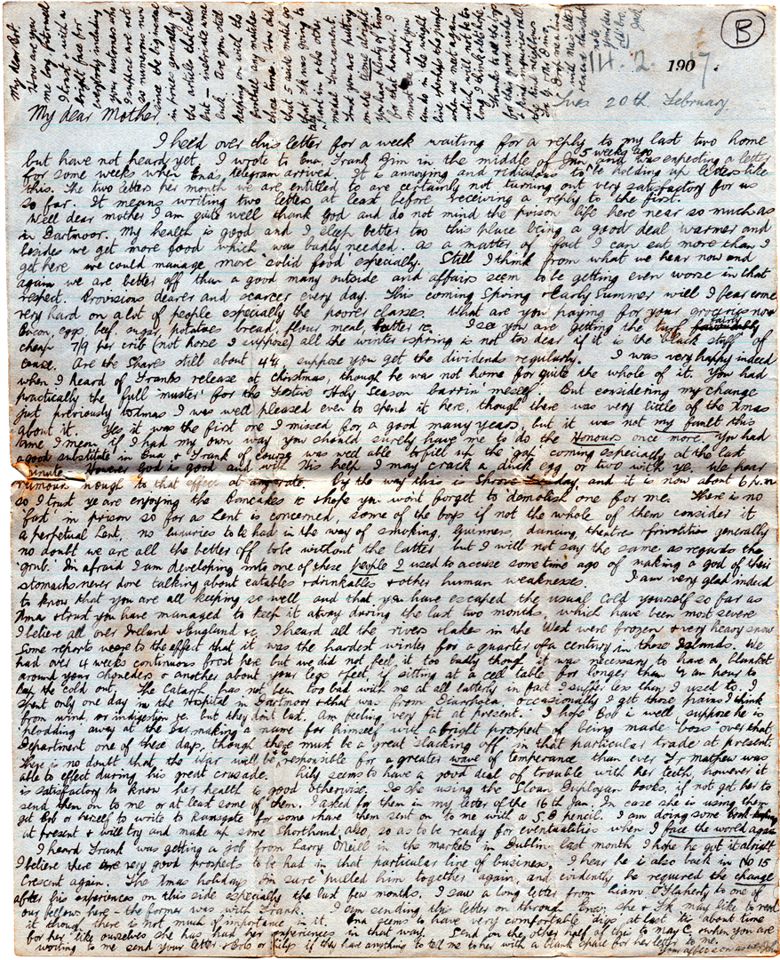 Jack's second letter to his family, written in February 1917.