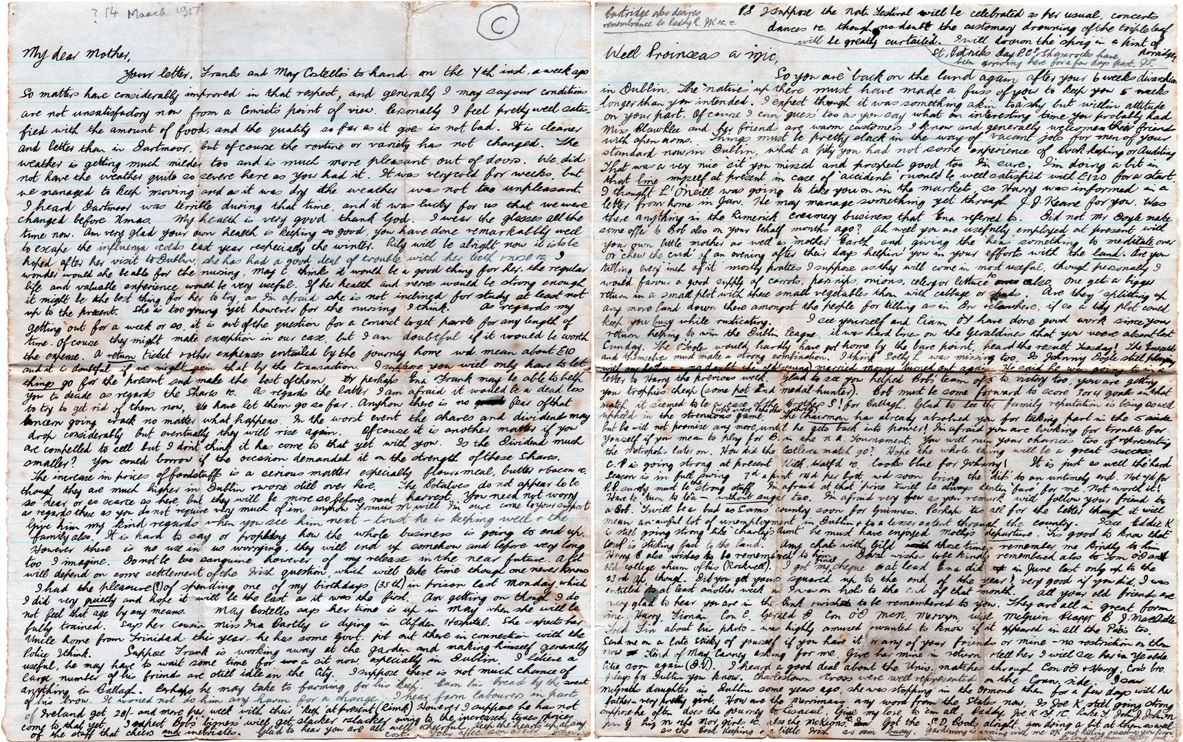 Jack's third letter sent inMarch, 1917.