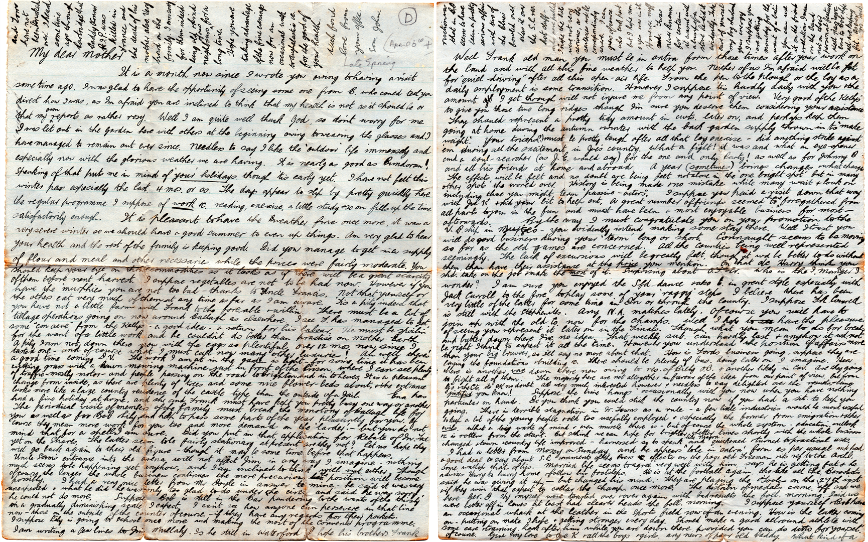 The fourth letter Jack sent to his family from Lewes Prison.