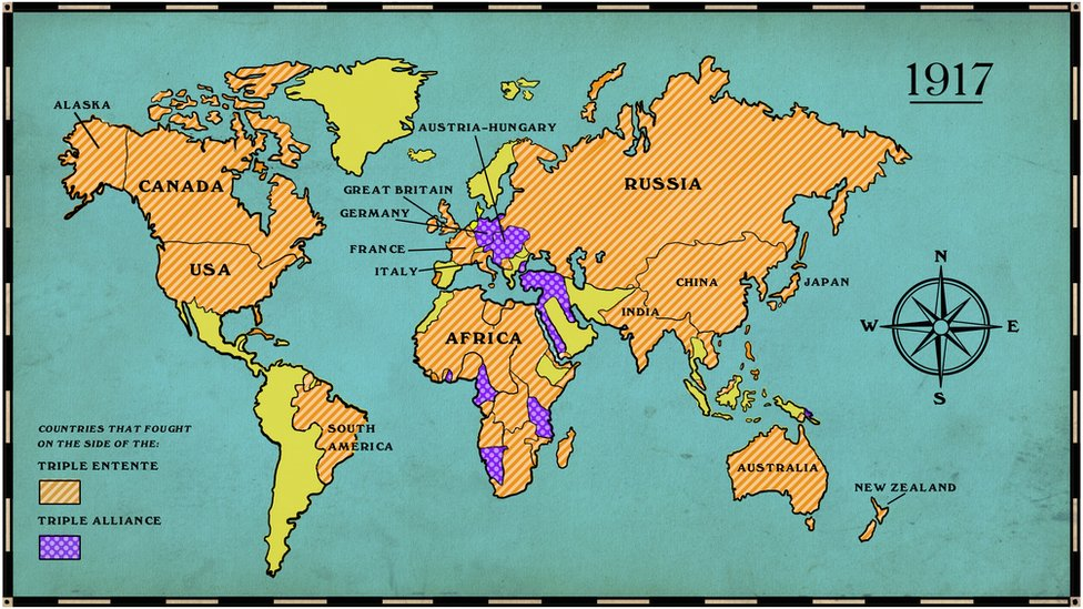 By 1917, most of the world's countries were playing a role in the war.