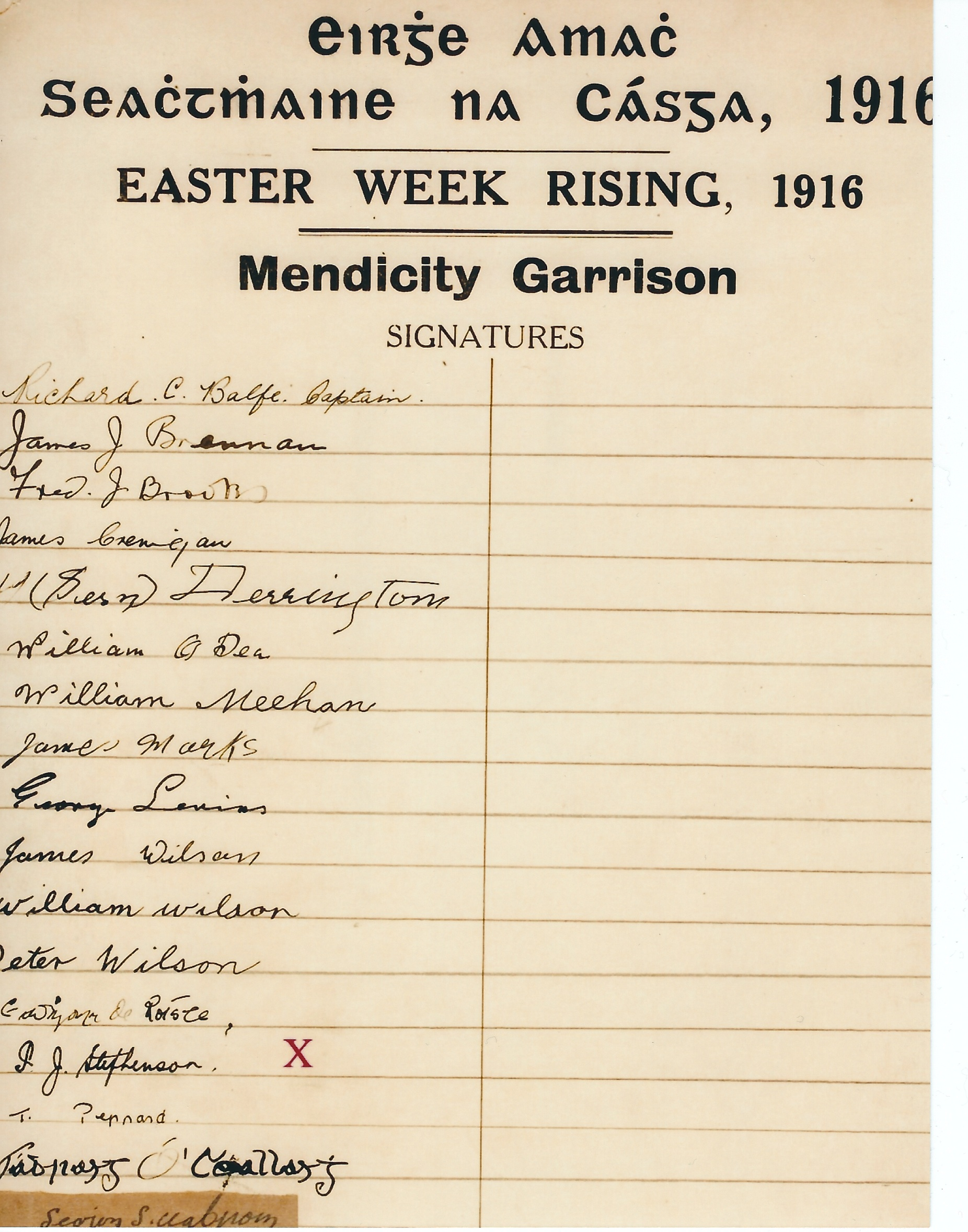Signatures of the Mendicity garrison. Paddy Joe's is marked with an X.