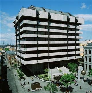 The Central Bank of Irelandon Dublin's Dame Street, designed by Paddy Joe and Mamie's son Sam Stephenson.