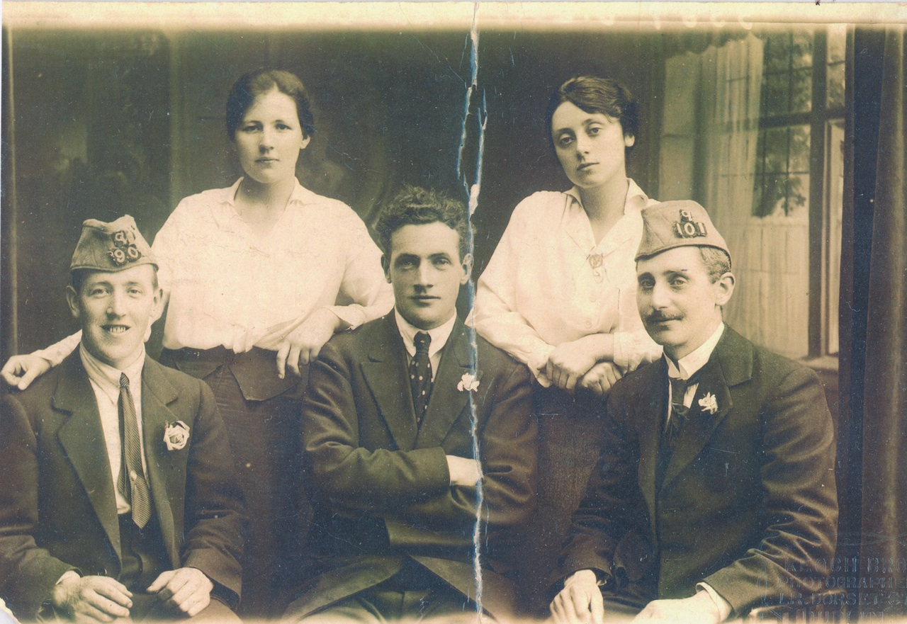 Kathleen Boland (back left) with Ena Shouldice, and (front row, l-r) Harry Boland, an unknown friend and Jack Shouldice