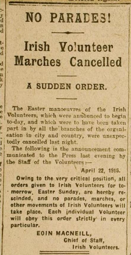 The Countermanding Order issued by Eoin MacNeill