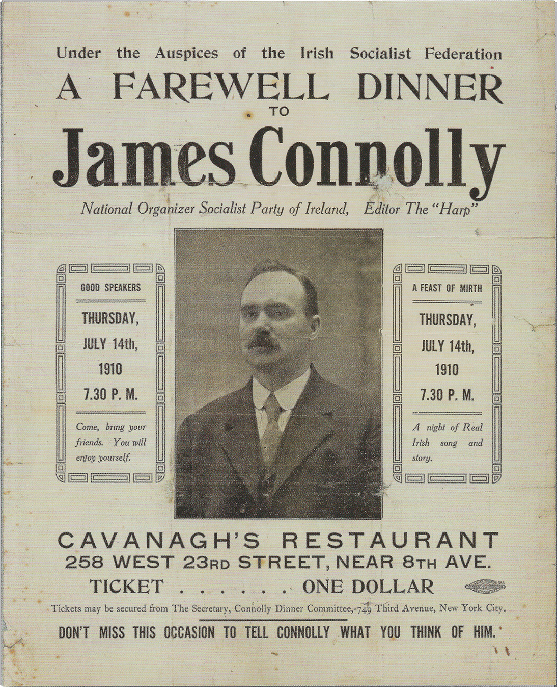A poster advertising James Connolly's farewell dinner after his 1910 U.S. tour
