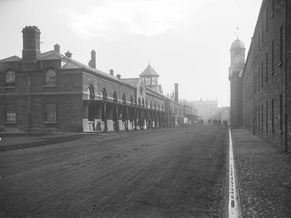 Richmond Barracks, Inchicore, where O'Brien was detained along with the majority of the rebels in 1916