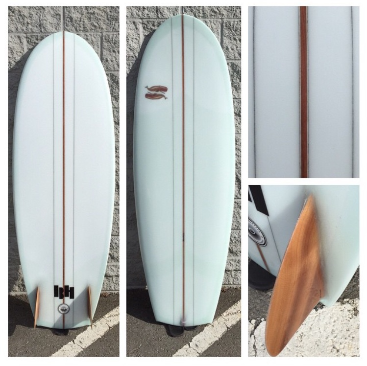 5'7 redwood stringer with glue lines and redwood glass-on fins by True Ames