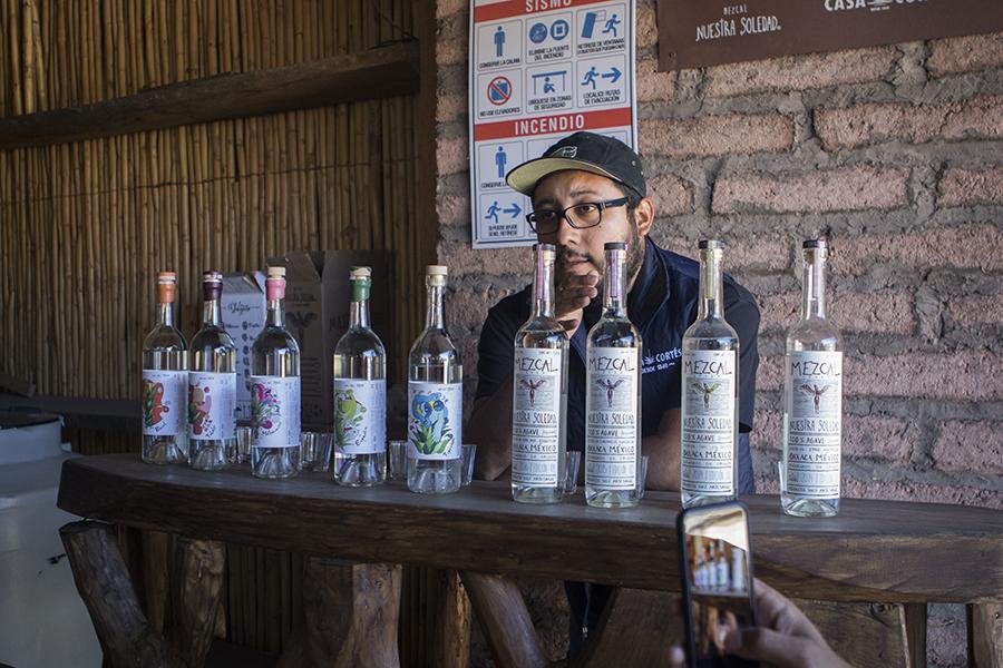 Asis Cortez sampling us on many of his varietals of El Jolorio and Nuestra Solidad