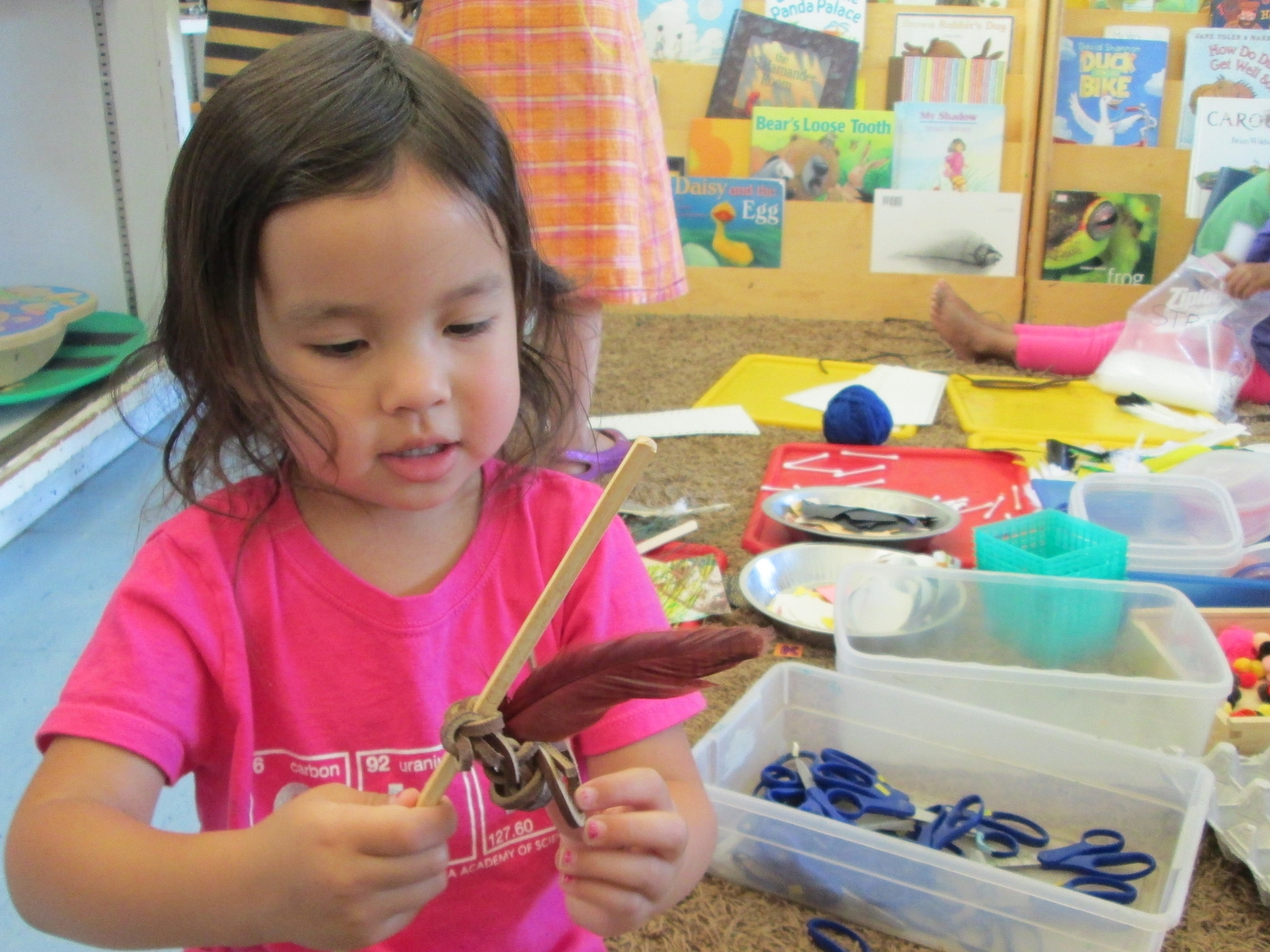 Martha challenged the children to see what new uses could be found for everyday objects and odds and ends.  They took the challenge pretty seriously: this is the next generation already at work.