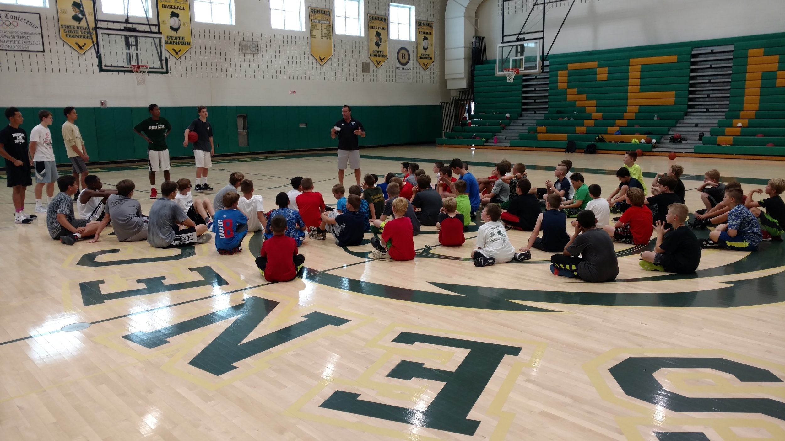 Stockton Head Men's Basketball Coach, Scott Bittner, was a guest speaker & instructor at the July 2017 Seneca Boys Basketball Camp