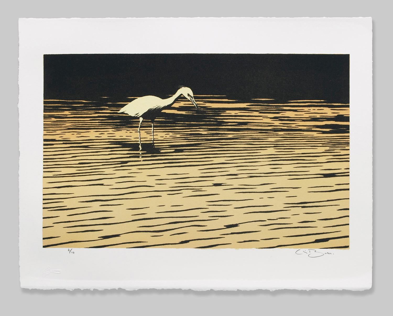 "'HERON' # 4/10 •stone lithograph on BFK paper • 20.32cm x 31.75cm • 8"" x 12.50"""