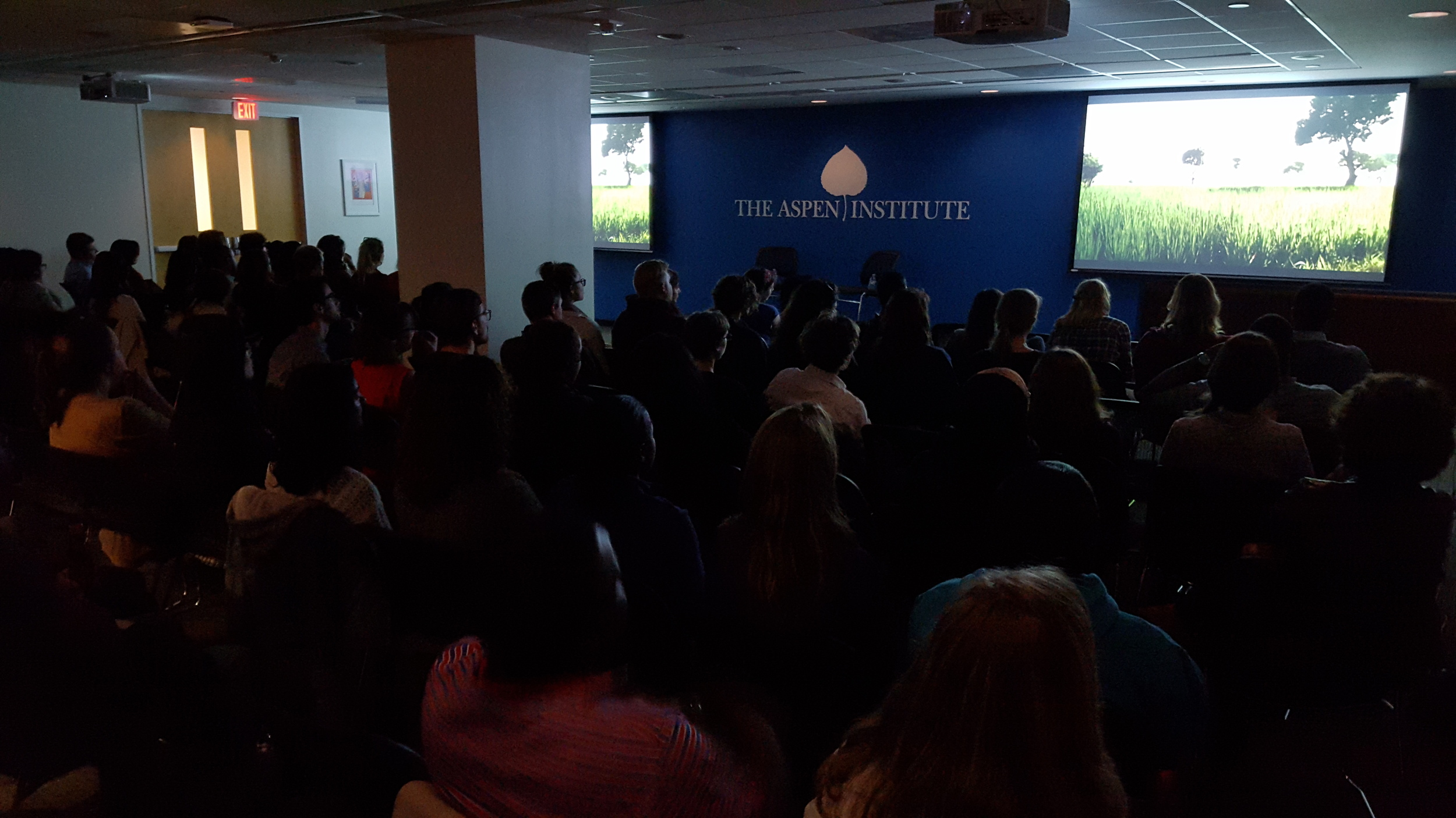 Young professionals from around the world gather at the Aspen Institute for the Global Health Corps screening of  Poverty, Inc.