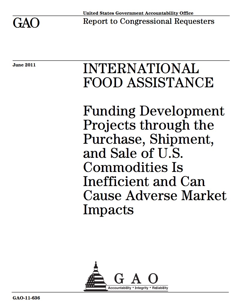 Report from the Government Accountability Office on International Food Assistance.