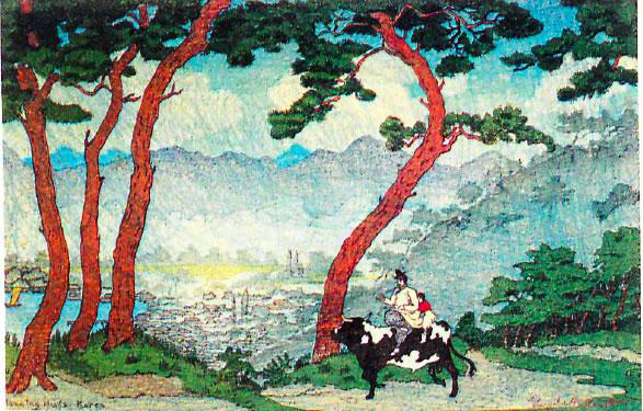 Elizabeth Keith, 1887–1956, Morning Mist , woodblock print, 1922