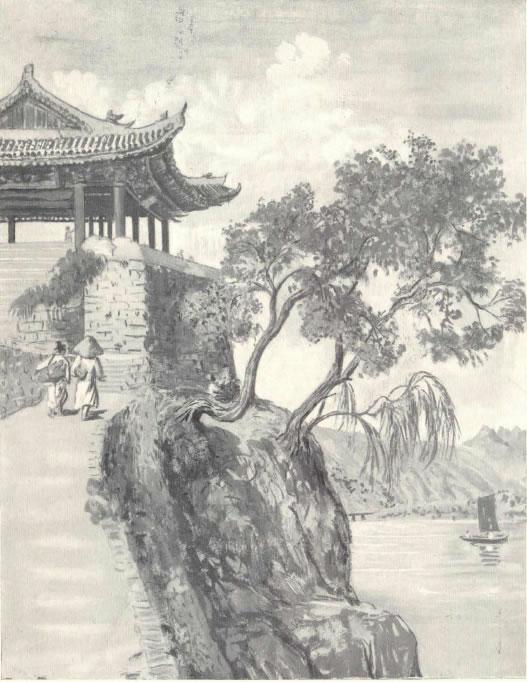 Elizabeth Keith, 1887–1956, Riverside, Pyengyang , watercolor painting, c. 1920