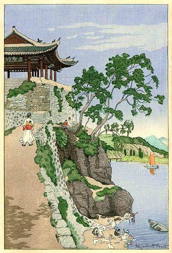 Elizabeth Keith, 1887–1956, Riverside, Pyengyang , woodblock print, 1926