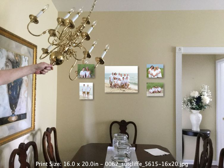 Placement - A 20x16 is centered with 10x8's on the sides.These canvas prints don't need frames.