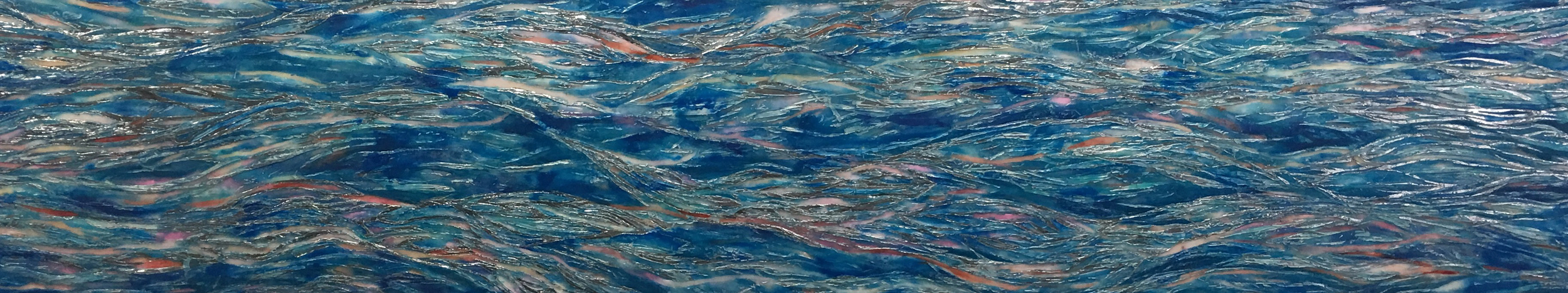 """Meditations on the Hudson, Flowing River   (private commission) Encaustic, pigments, Chinese cinnabar, Japanese coral, aluminum leaf,   Chanel 122  Ocean Light  eye shadow, Hudson River water and acrylic on floating birch panel 18"""" h x 90"""" x 1 7/8"""""""