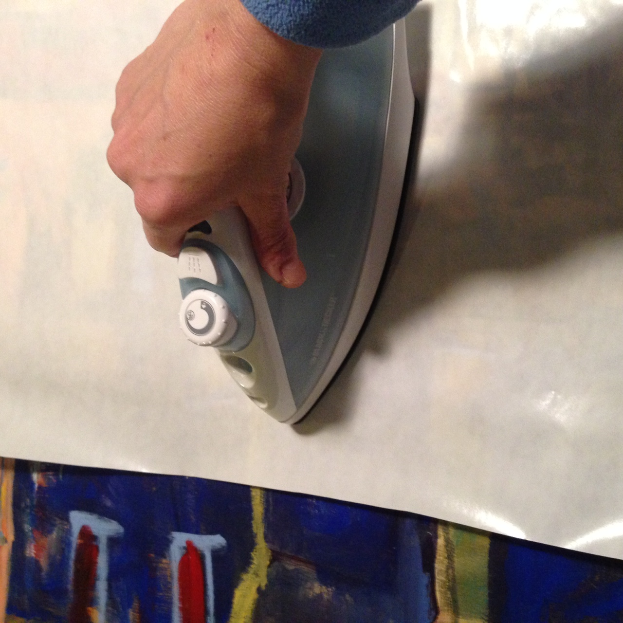 adhering painting to panel with photo release paper