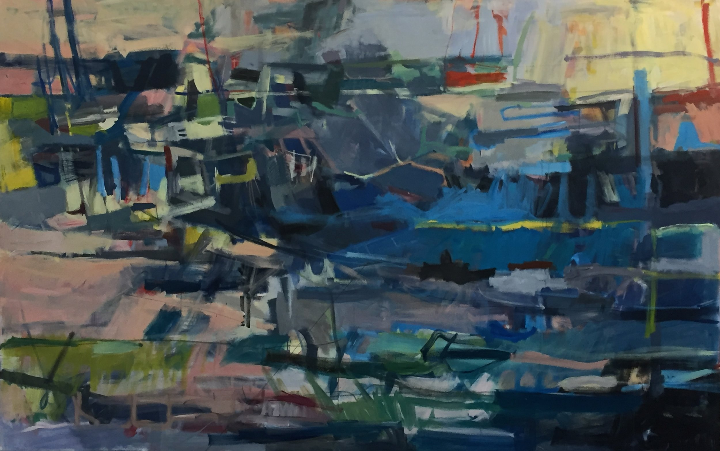 "Harbor Acrylic on canvas 60""x94"""