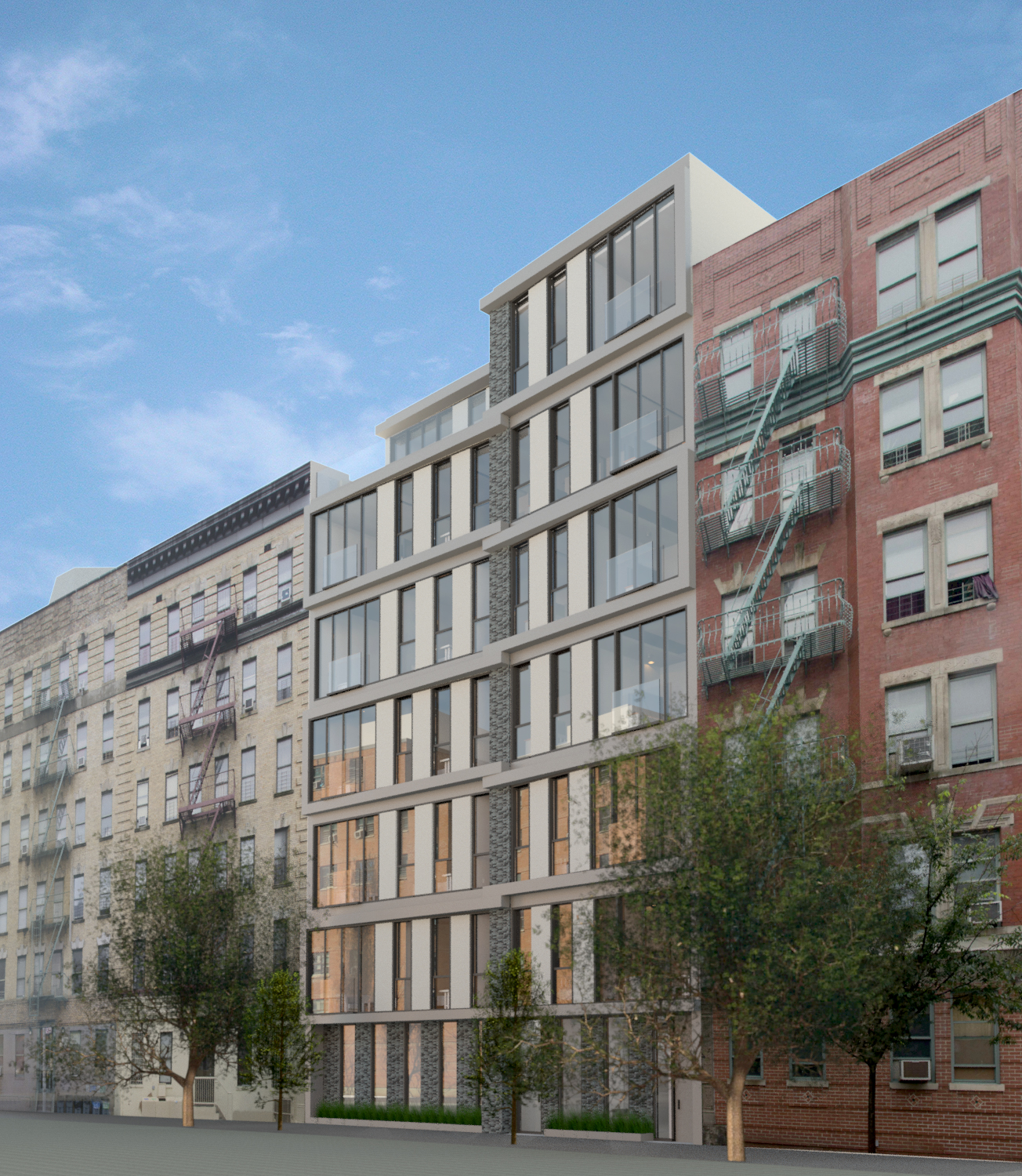 TRA Studio architecture, 336 East 112th Street, Harlem, Upper East Side, New York, NY, Design, Modern, 251 East 61st Street, Construction, Renovation, Rental, Condo, Residential, Facade, Rendering