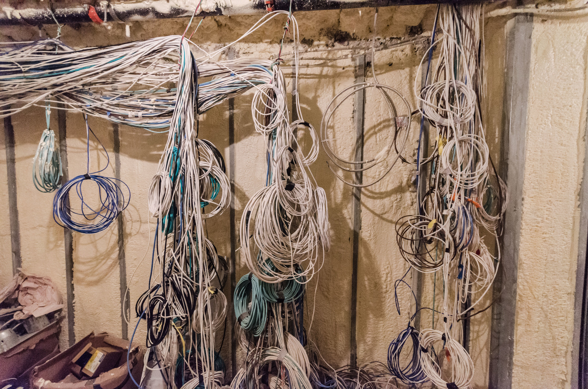 "This is a ""Smart House"" and requires a lot of wires. This is the location of the technology closet in the cellar.  TRA Studio architecture, Townhouse, Upper East Side, New York, NY, Design, Modern, 251 East 61st Street, Construction, Renovation, Adaptive Reuse"