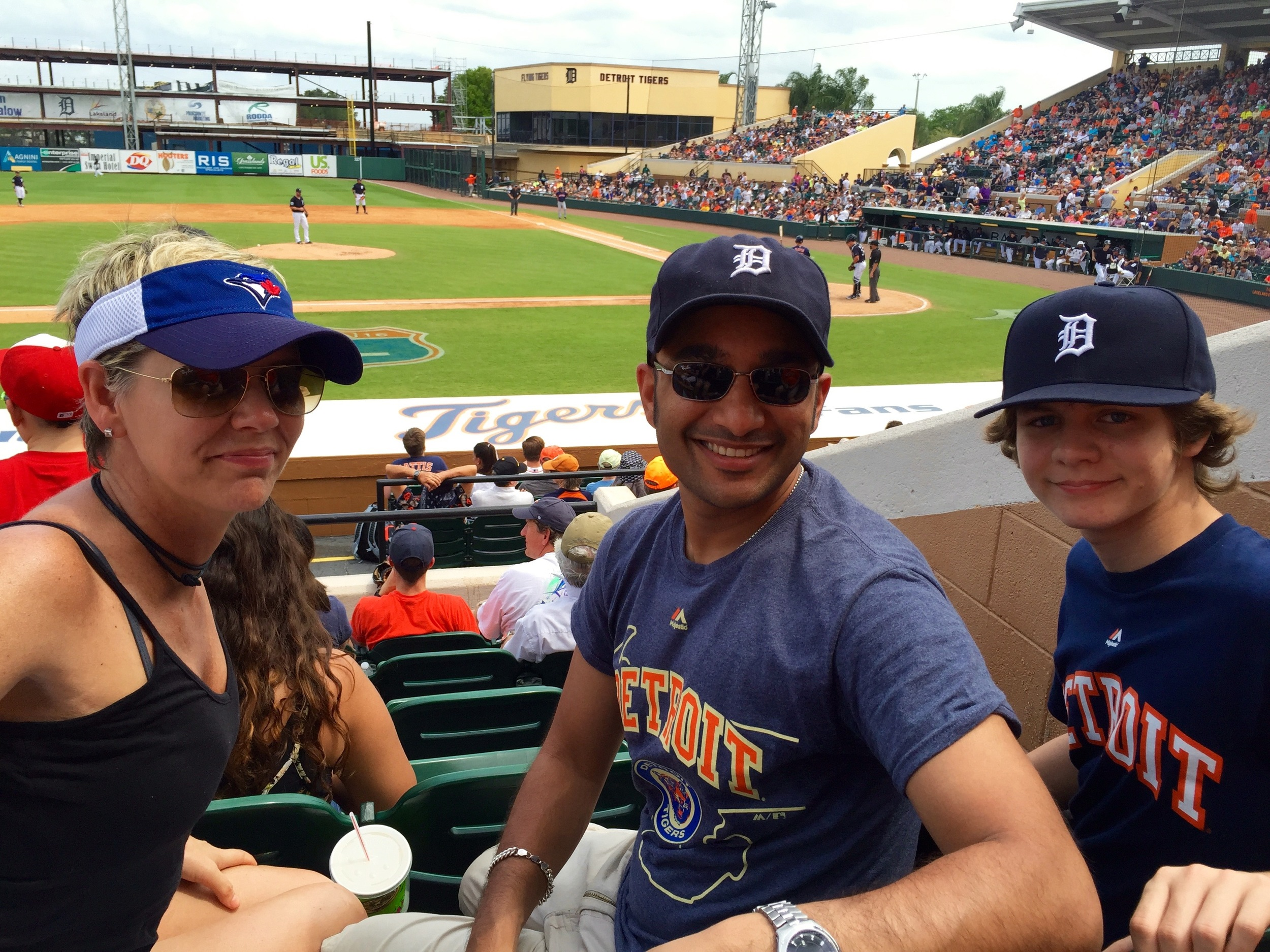 Ty, Muneesh and Monique in Lakeland enjoying a Tigers game.