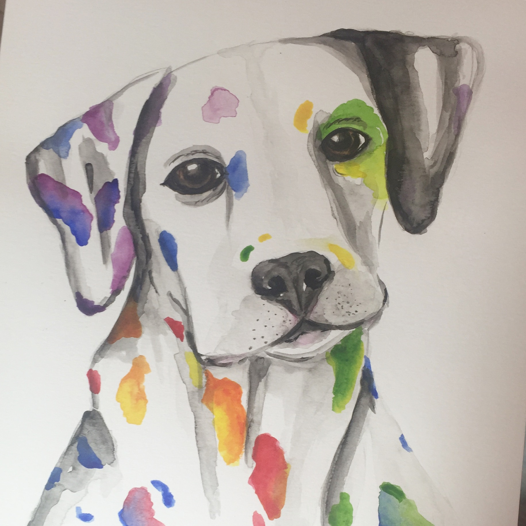 Dalmation Watercolour Painting