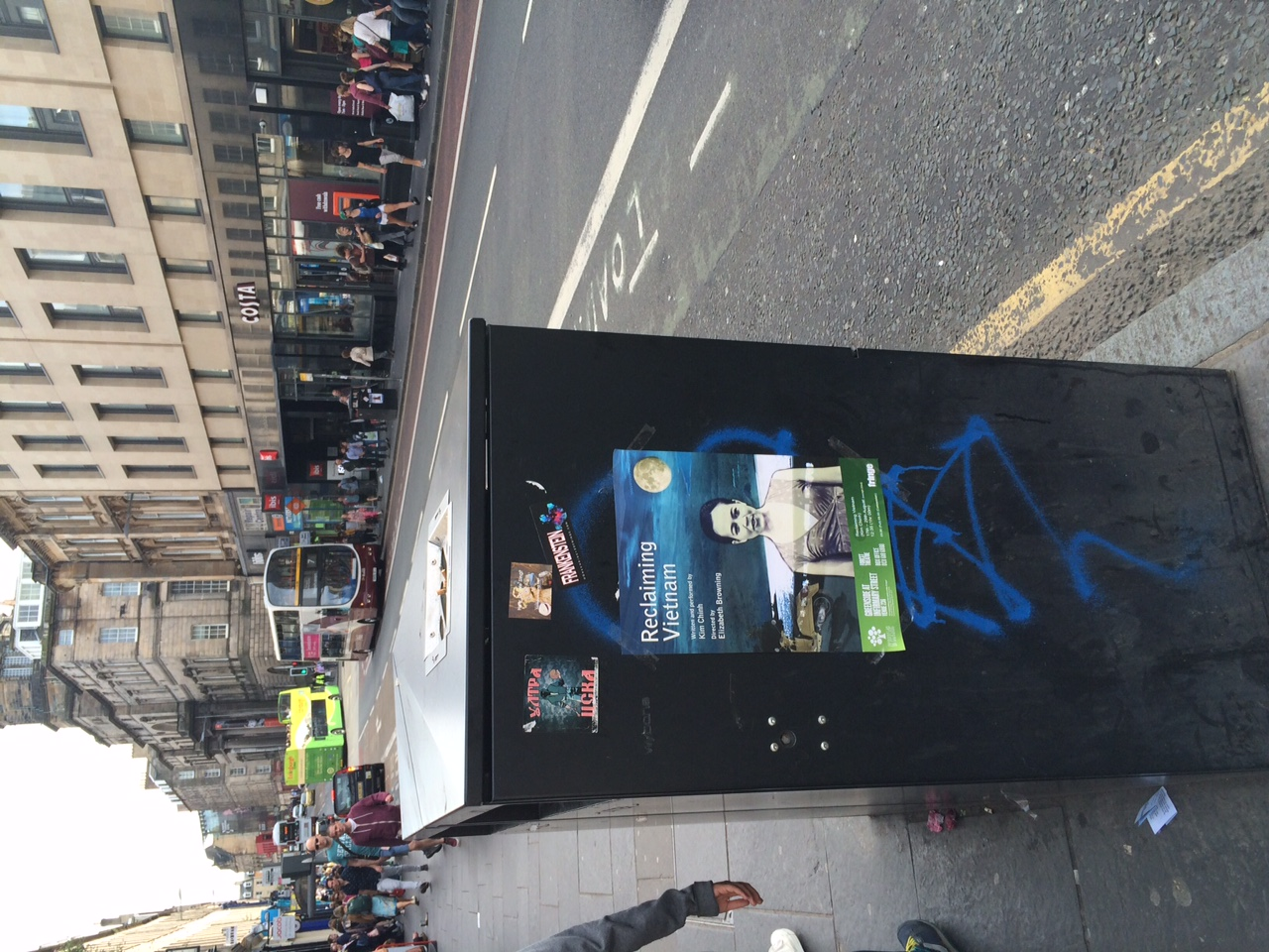 Check out my poster amidst the hustle and bustle of Edinburgh during Festival time. Ah yes.