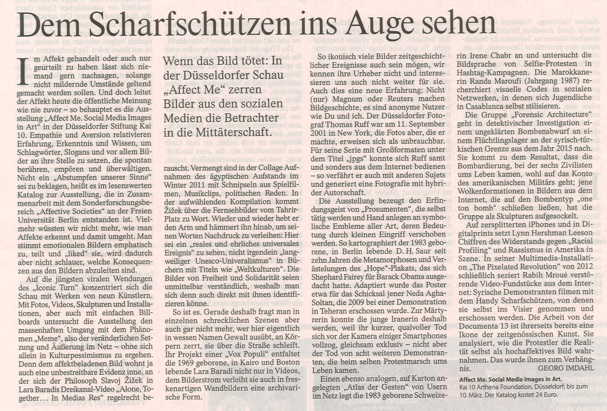 Review of the exhibition 'Affect Me' , KAI 10, Arthena Foundation, Dusseldorf, Germany, in the daily newspaper 'Frankfurter Allgemeine Zeitung' by Georg Imdahl, January 2018