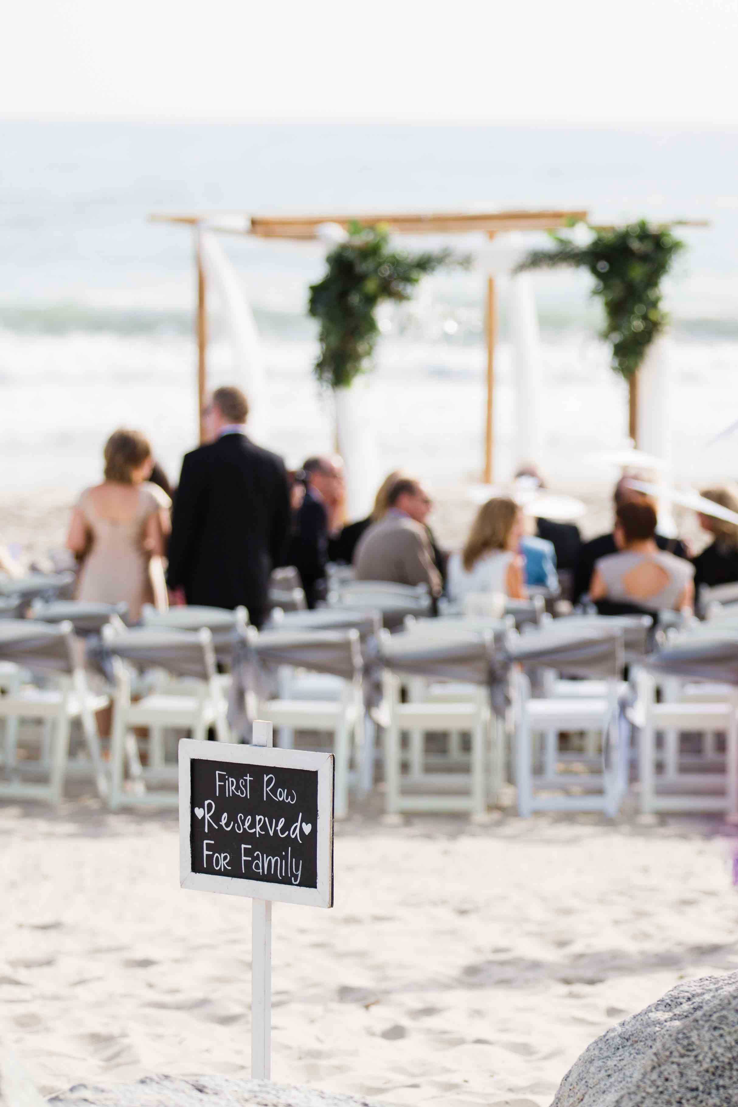 Bamboo Arch and Beach Chalk Board Sign