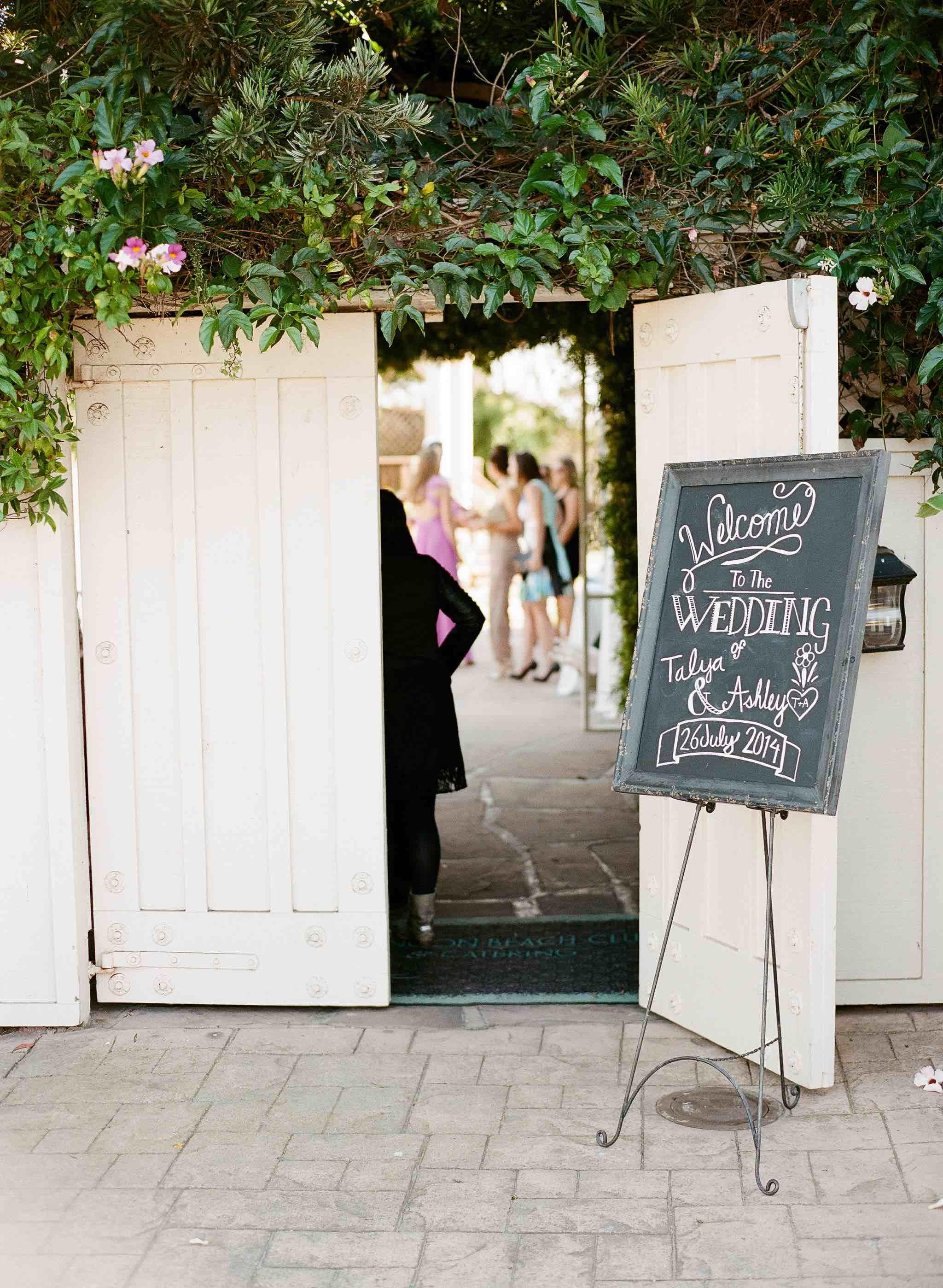 Santa Barbara wedding venue entrance signs
