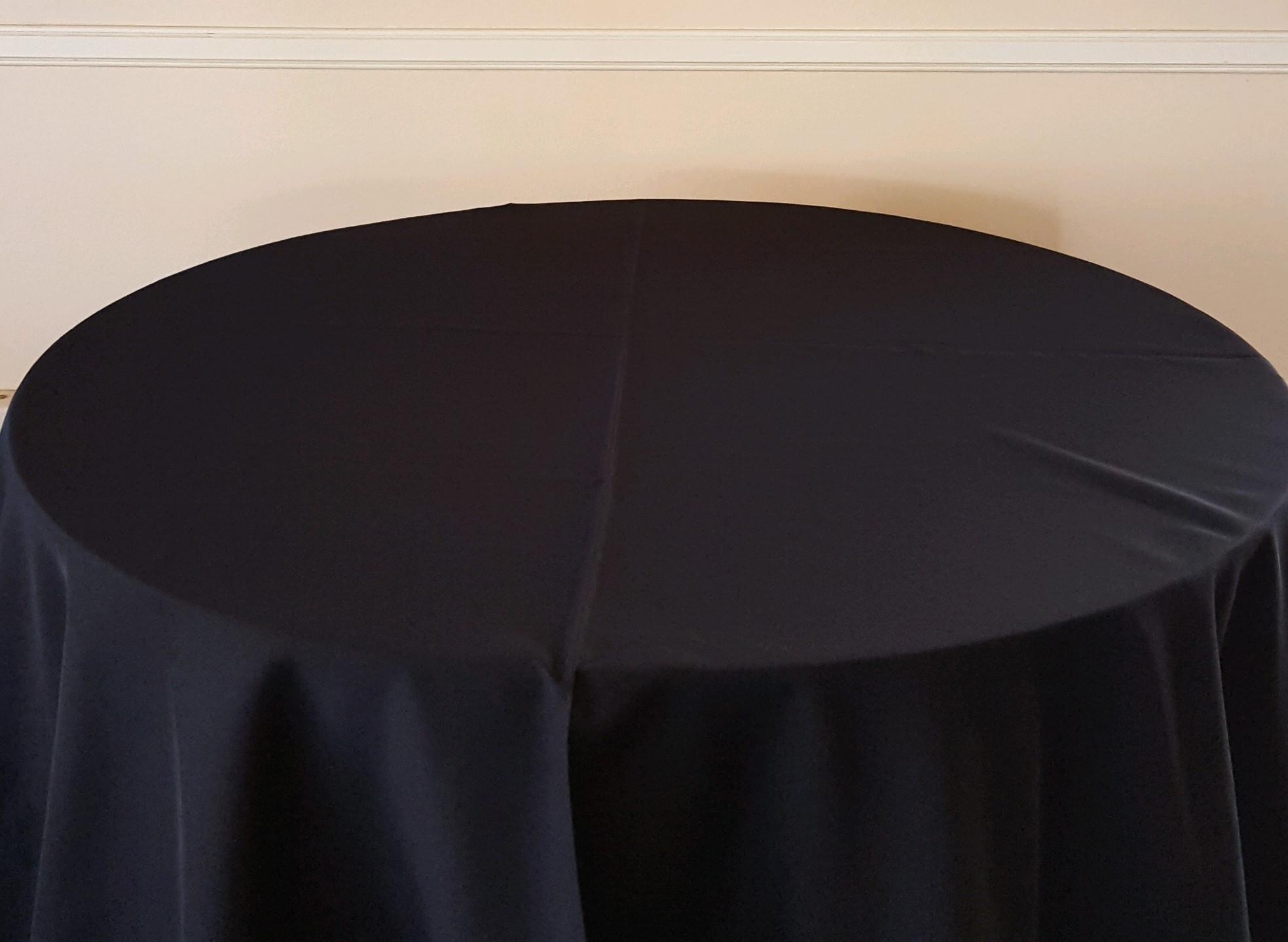 "Black - 130"" drape, 120"" drape, 108"" drape, 90"" drape, 6' banquet, 8' banquet & napkins"