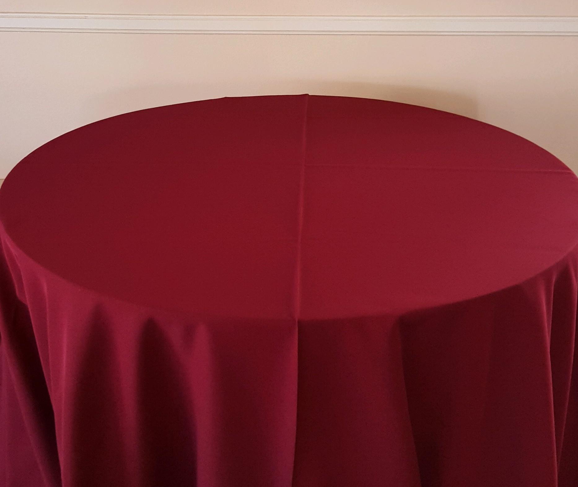 "Burgundy - 130"" drape, 120"" drape, 108"" drape, 90"" drape, 6' banquet, 8' banquet & napkins"