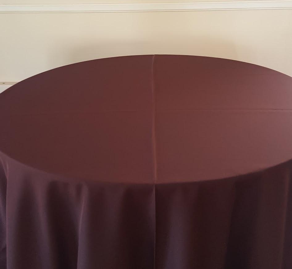 "Chocoalte Brown - 130"" drape, 120"" drape, 108"" drape, 90"" drape, 6' banquet, 8' banquet & napkins"