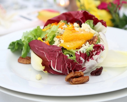 """Hollandia Hydroponically Grown """"Live Gourmet"""" Trio Salad Bouquets  Radicchio Cups with Butter Lettuce, Watercress, Toasted Pecans, Orange Sections Gorgonzola Cheese and Citrus Dressing"""