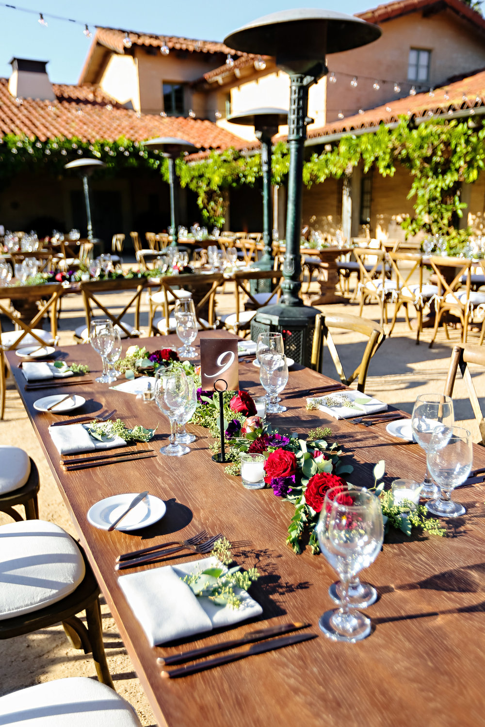 Specialty Farm Dinner Tables and Vineyard Chairs