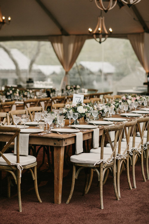 Farm Tables and Vineyard Chairs