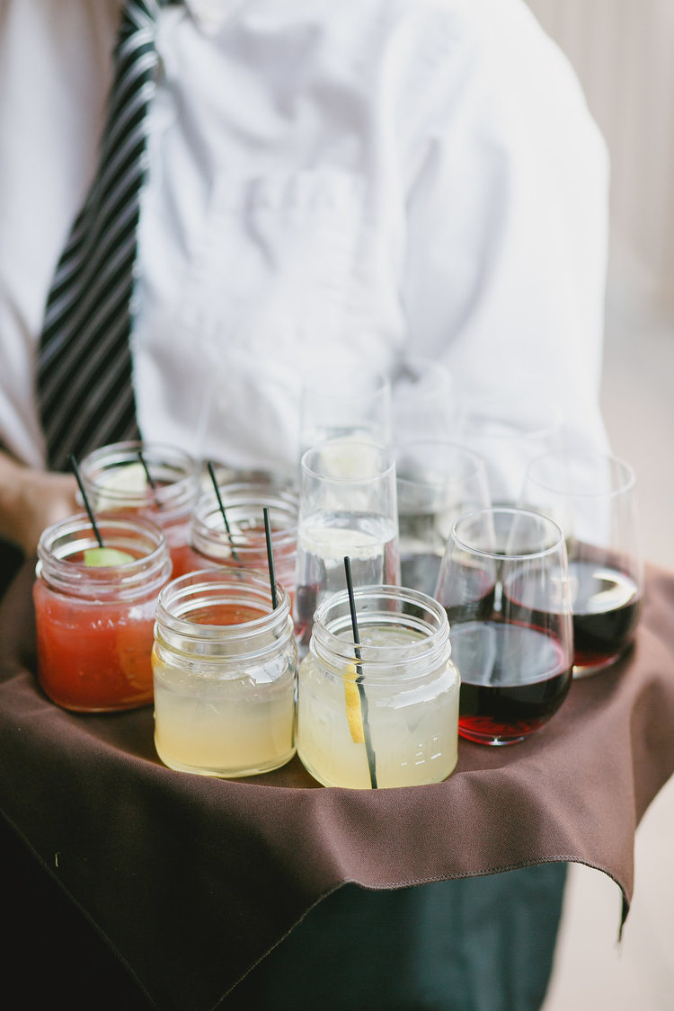 Specialty Cocktails in Mason Jars & Tray Passed Wine