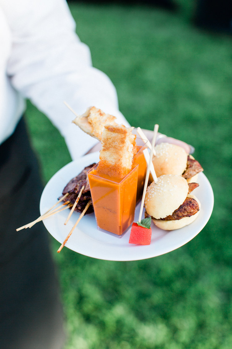 Hors d'oeuvre plate - Grilled Cheese and Tomato Shooter, Sugared Bacon,  Infused Watermelon, Hot Chicken SLiders