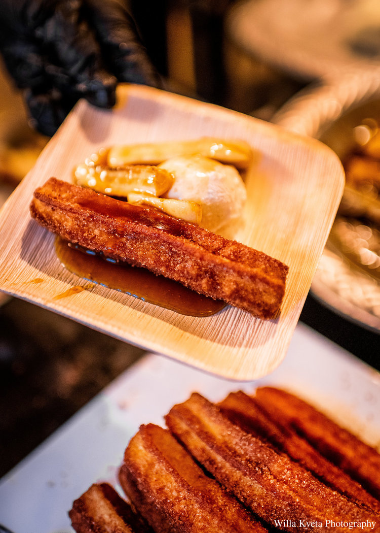 Bananas Foster and Hand Rolled Churros