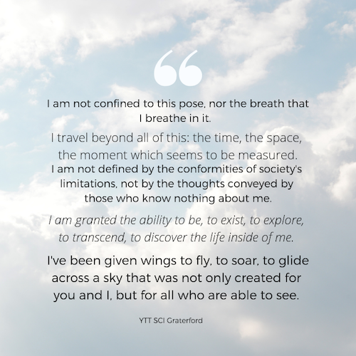 This poem was written by a graduate of our very first Yoga Teacher Training at State Correctional Institute - Graterford. He is now a co-facilitator of our current training at SCI - Phoenix.