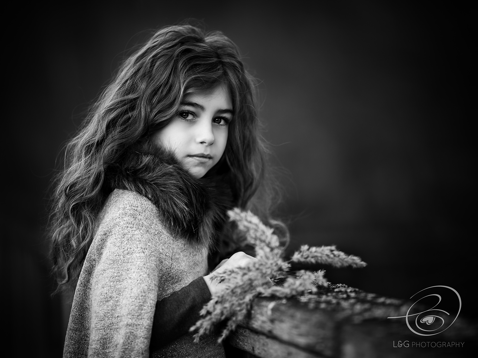 child portrait of girl in black and white
